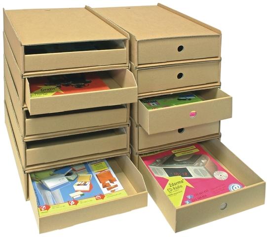 Schubladenbox, mit 1 Schublade, A4, 258 x 347 x 75 mm, natur