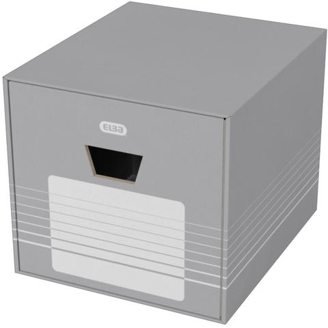 Schubladenbox S4, Wellpappe, mit 1 Schublade, 385 x 460 x 350 mm, grau