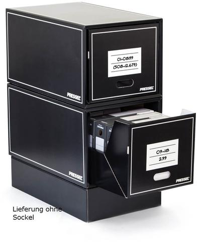 Schubladenbox, Wellpappe, mit 1 Schublade, 405 x 650 x 345 mm, schwarz