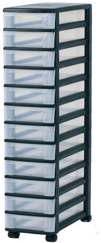Schubladenbox, mit 12 Schubladen, 380 x 300 x 1.255 mm, schwarz/weiß