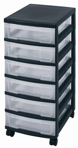 Schubladenbox, mit 6 Schubladen, 380 x 300 x 670 mm, schwarz/weiß