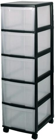 Schubladenbox, mit 5 Schubladen, 380 x 300 x 1.266 mm, schwarz/weiß