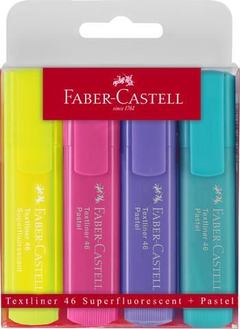 Textmarker Textliner 46, Pastel + Superfluorescent, Schreibf.: 4er so