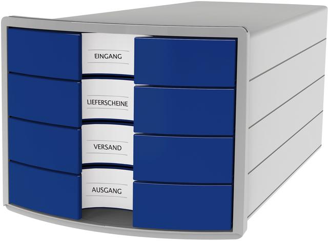 Schubladenbox IMPULS, m.4 geschl.Schubladen, A4/C4, lichtgrau/blau