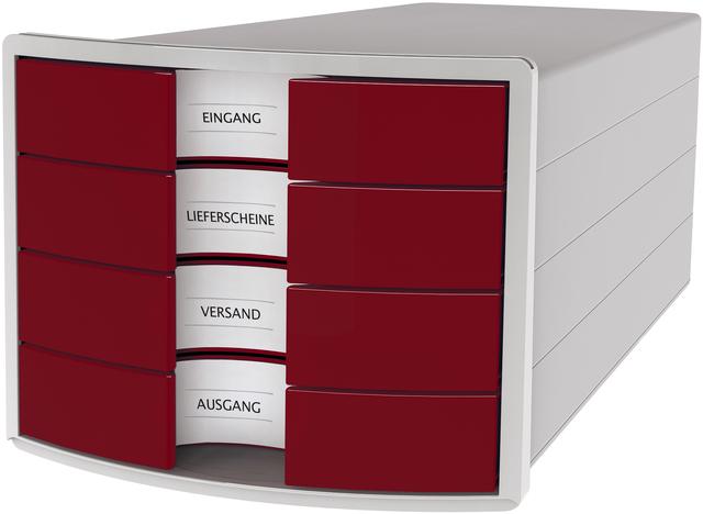 Schubladenbox IMPULS, m.4 geschl.Schubladen, A4/C4, lichtgrau/rot