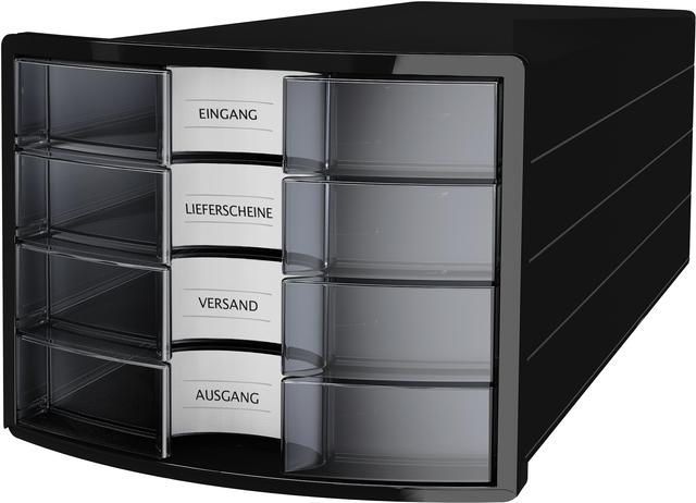 Schubladenbox IMPULS, m.4 geschl.Schubladen, A4/C4, sw/fl, transl.
